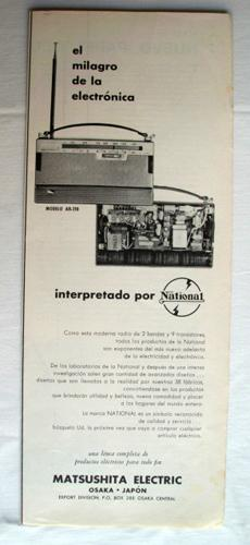 Antigua Hoja Publicidad Revista - Advertising Magazine Old Sheet : RADIO NATIONAL, Matsushita Ele...