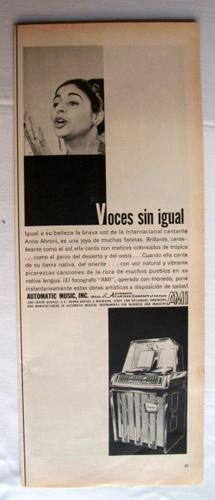Antigua Hoja Publicidad Revista - Advertising Magazine Old Sheet : Fonógrafo AMI. Año 1959