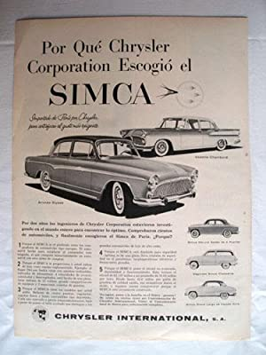 Antigua Hoja Publicidad Revista - Advertising Magazine Old Sheet : SIMCA, CHRYSLER. Año 1959