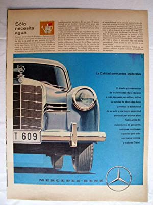 Antigua Hoja Publicidad Revista - Advertising Magazine Old Sheet : MERCEDES BENZ. Año 1959