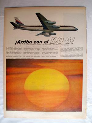 Antigua Hoja Publicidad Revista - Advertising Magazine Old Sheet : DC - 8, Douglas. Año 1959