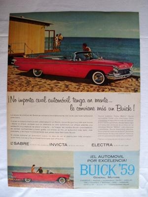 Antigua Hoja Publicidad Revista - Advertising Magazine Old Sheet : BUICK, General Motors. Año 1959