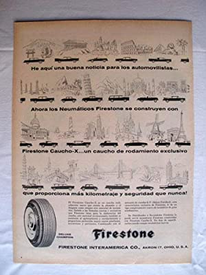 Antigua Hoja Publicidad Revista - Advertising Magazine Old Sheet : FIRESTONE. Año 1959