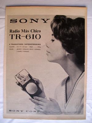 Antigua Hoja Publicidad Revista - Advertising Magazine Old Sheet : SONY, Radio Más Chico TR 610. ...
