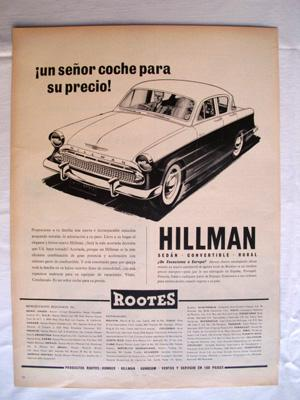 Antigua Hoja Publicidad Revista - Advertising Magazine Old Sheet : AUTOMOVIL HILLMAN. Año 1959