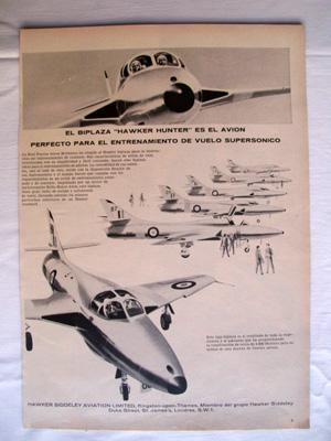 Antigua Hoja Publicidad Revista - Advertising Magazine Old Sheet : BIPLAZA HAWKER HUNTER. Año 1959