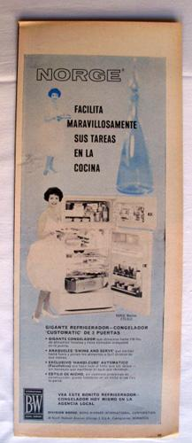 Antigua Hoja Publicidad Revista - Advertising Magazine Old Sheet : NORGE Refrigerador Congelador....