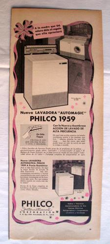 Antigua Hoja Publicidad Revista - Advertising Magazine Old Sheet : PHILCO Lavadora. Año 1959