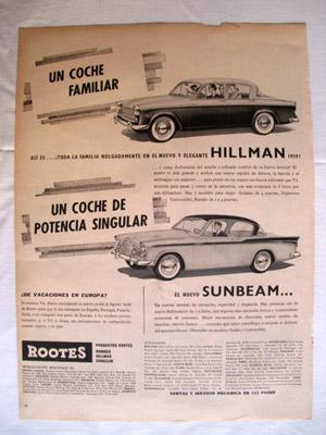 Antigua Hoja Publicidad Revista - Advertising Magazine Old Sheet : COCHES HILLMAN, SUNBEAM. Año 1959