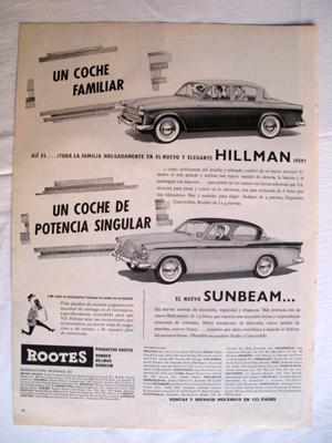 Antigua Hoja Publicidad Revista - Advertising Magazine Old Sheet : AUTOMÓVILES HILLMAN, SUNBEAM. ...