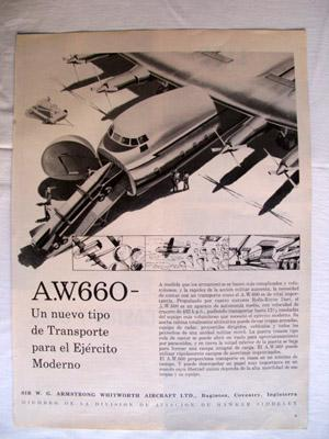 Antigua Hoja Publicidad Revista - Advertising Magazine Old Sheet : AVIÓN A.W.660. Sir W.G.Armstro...
