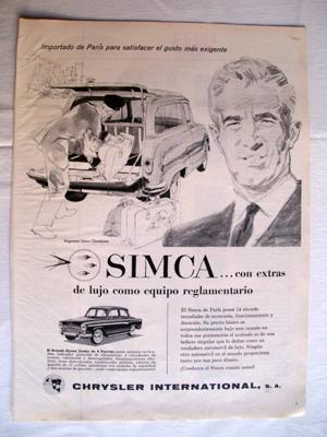 Antigua Hoja Publicidad Revista - Advertising Magazine Old Sheet : SIMCA. CHRYSLER. Año 1959