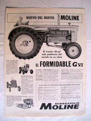 Antigua Hoja Publicidad Revista - Advertising Magazine Old Sheet : TRACTOR GVI, MINNEAPOLIS MOLIN...