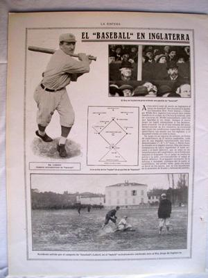 Antigua Hoja Revista - Old Magazine Sheet : Mr.LOBERT - El Baseball en Inglaterra. Año 1914