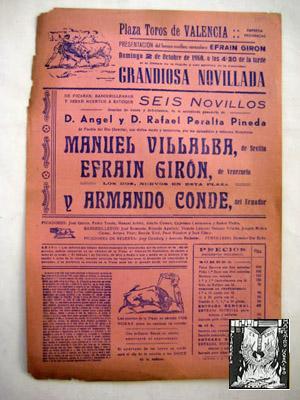 Poster : PLAZA DE TOROS DE VALENCIA: PROVINCIAL (empresa)