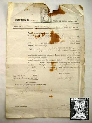 Antiguo Documento - Old Document : PROVINCIA DE TERUEL, VENTA DE BIENES NACIONALES. 1876