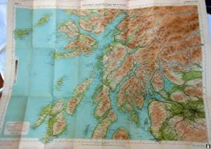 Antiguo Mapa Entelado - Old Map Mounted on cloth. : MAP OF SCOTLAND: GLASGOW & OBAN (Sheet 4)