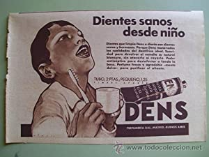 Antigua Hoja Publicidad - Old Sheet of Advertising : DENS - Perfumeria Gal