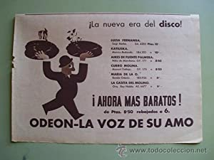 Antigua Hoja Publicidad - Old Sheet of Advertising : DISCOS ODEON - LA VOZ DE SU AMO
