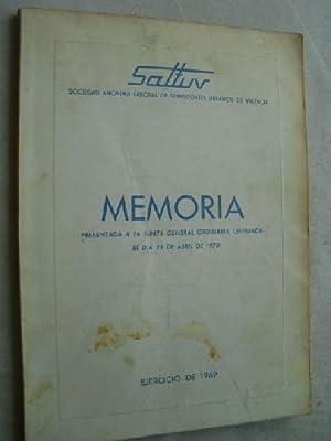 MEMORIA SALTUV. 1969: SOCIEDAD ANONIMA LABORAL DE TRANSPORTES URBANOS DE VALENCIA.