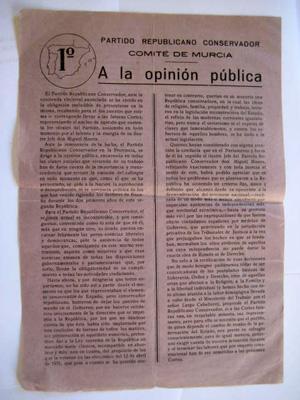 Folleto Publicidad - Advertisng Brochure : PARTIDO REPUBLICANO CONSERVADOR. A la opinión de ...