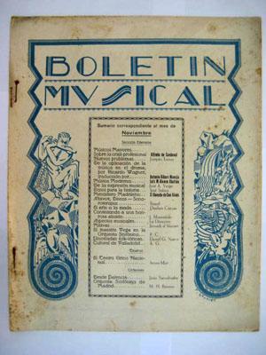 BOLETÍN MUSICAL. Nº 32 Noviembre 1930: SERRANO Rafael (Director)