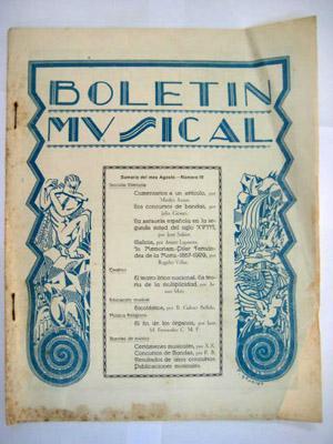 BOLETÍN MUSICAL. Nº 18 Agosto 1929: SERRANO Rafael (Director)