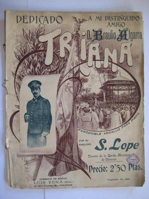 Partitura - Music Score : TRIANA (pasodoble andaluz para piano): LOPE S (música)