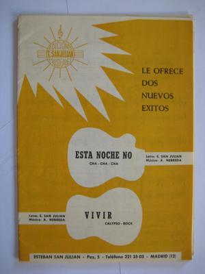 Partitura - Music Score : ESTA NOCHE NO (cha-cha-cha), VIVIR (calypso-rock): NEBREDA A (musica)