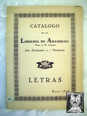 CATÁLOGO DE LA LIBRERÍA DE ARAMBURU (Vda de N Aramburu): ARAMBURU Librería