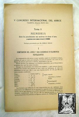 MEMORIA SOBRE LOS PROCEDIMIENTOS MÁS MODERNOS DE ABONAR EL ARROZ Y ESPECIALMENTE SOBRE EL ...