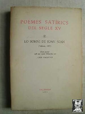 POEMES SATÍRICS DEL SEGLE XV. II LO: PALÀCIOS, Josep