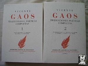 VICENTE GAOS. TRADUCCIONES POÉTICAS COMPLETAS (2 volúmenes): Rimbaud, Alighieri, ...