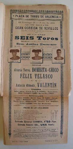 CARTEL Plaza de Toros de Valencia - junio 1899 - CORRIDA DE NOVILLOS : BOMBITA - CHICO, VELASCO y V...