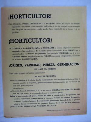 Folleto Publicidad - Advertising Brochure : BOLSITAS DE SEMILLAS HORTÍCOLAS