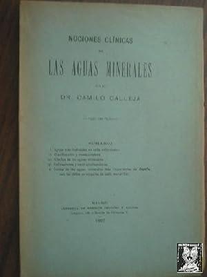 NOCIONES CLÍNICAS DE LAS AGUAS MINERALES: Dr. CALLEJA, Camilo