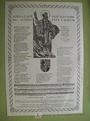 GOIGS A LLAOR DEL GLORIOS PAPA I MARTIR: VIVES I SABATÉ R.(text traduit, xilografies), MAIDEU I ...