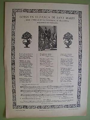 GOIGS EN LLOANÇA DE SANT MARTÍ Bisbe: MUNTANYOLA Ramon (lletra),