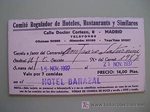 Tarjeta : COMITÉ REGULADOR DE HOTELES, RESTAURANTES Y SIMILARES. Madrid. 1937: Sin autor