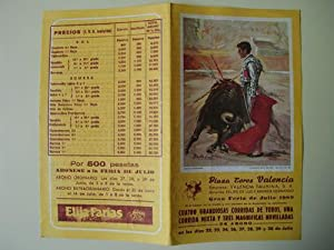 Folleto Publicidad - Brochure Advertising : PLAZA DE TOROS DE VALENCIA - Gran Feria de Julio 1989