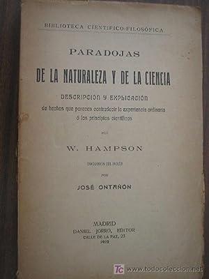 PARADOJAS DE LA NATURALEZA Y DE LA CIENCIA: HAMPSON, W.