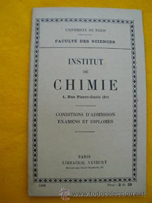 INSTITUT DE CHIMIE. Conditions d'Admission. Examens et Diplomes