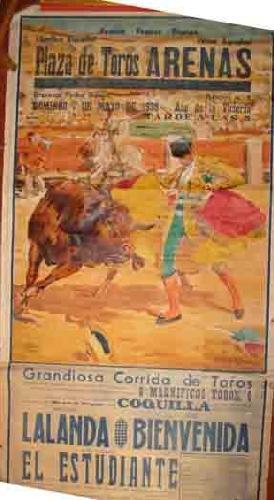 CARTEL DE LA PLAZA DE TOROS ARENAS: Sin autor