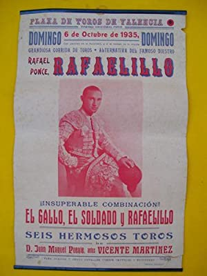 Cartel Toros - Poster Bulls : Plaza de Toros de Valencia, 6 octubre 1935 - Rafael Ponce RAFAELILLO ...