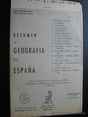RESUMEN DE GEOGRAFÍA DE ESPAÑA: SÁNCHEZ ARANDA, Fermina