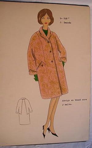 FIGURIN ORIGINAL ACUARELADO - Original watercolor design costume - J. DESSÉS : Abrigo en ...