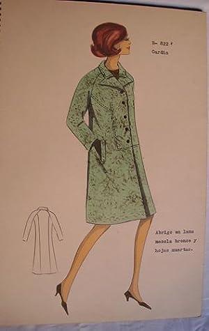 FIGURIN ORIGINAL ACUARELADO - Original watercolor design costume - CARDIN : Abrigo en lana mezcla ...