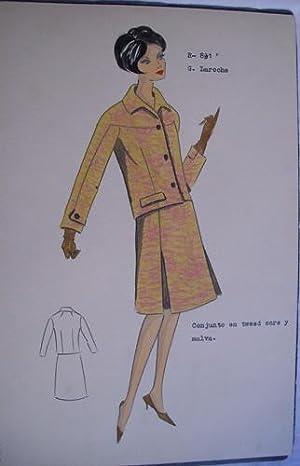 FIGURIN ORIGINAL ACUARELADO - Original watercolor design costume - G. LAROCHE : Conjunto en tweed o...