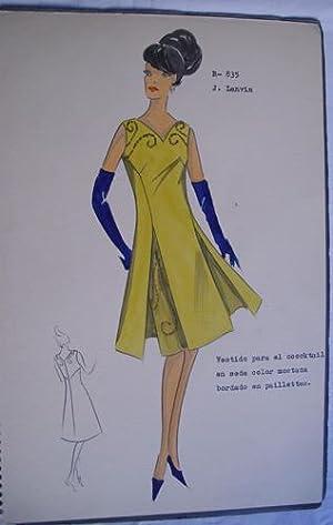 FIGURIN ORIGINAL ACUARELADO - Original watercolor design costume - J. LANVIN : Vestido para el ...