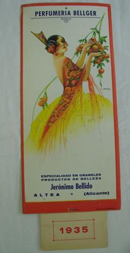 Calendario Publicidad - Advertising Calendar : PERFUMERIA BELLGER. ALTEA. 1935: BELLIDO Jerónimo, ...
